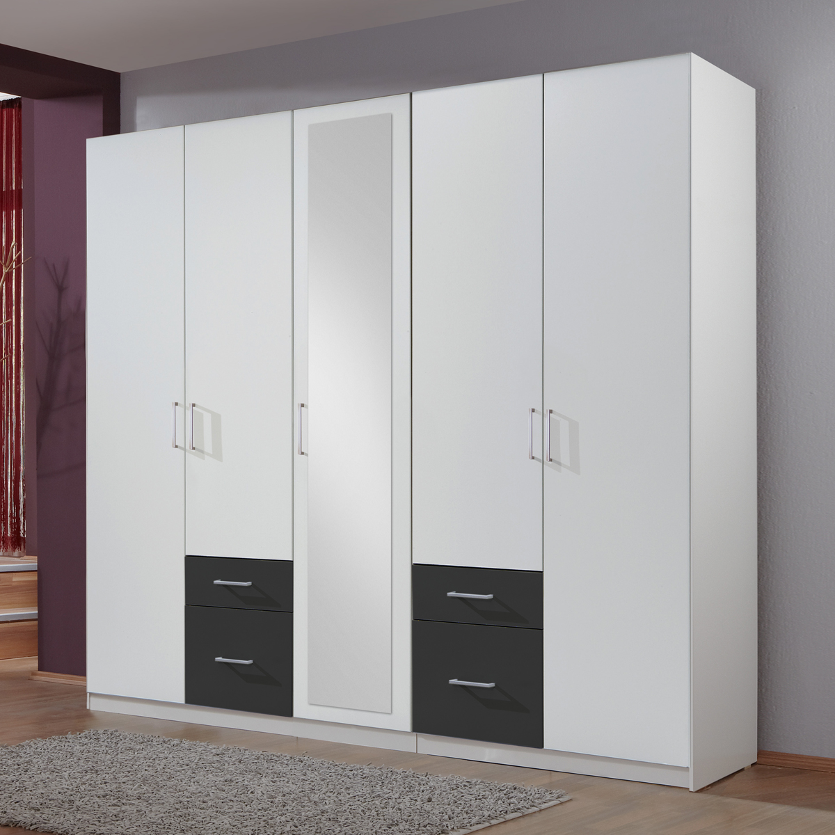 kleiderschrank fly schrank dreht renschrank mit spiegel ebay. Black Bedroom Furniture Sets. Home Design Ideas