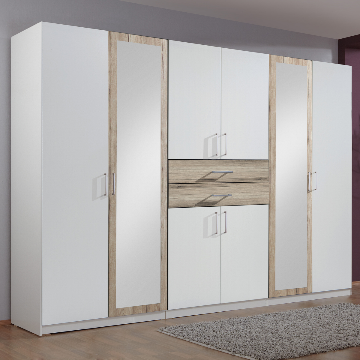 kleiderschrank diver in alpinwei eiche san remo 270 cm dreht renschrank schrank ebay. Black Bedroom Furniture Sets. Home Design Ideas
