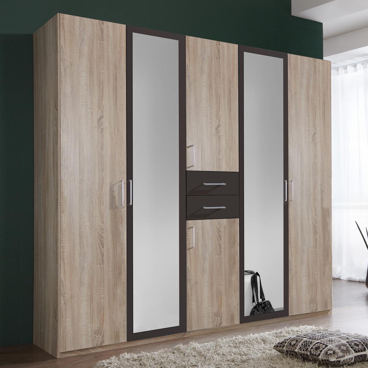 kleiderschrank diver in eiche s gerau und lava 225 cm. Black Bedroom Furniture Sets. Home Design Ideas