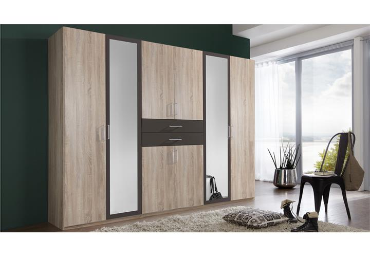 kleiderschrank diver in eiche s gerau und lava dreht renschrank schrank 270 cm ebay. Black Bedroom Furniture Sets. Home Design Ideas