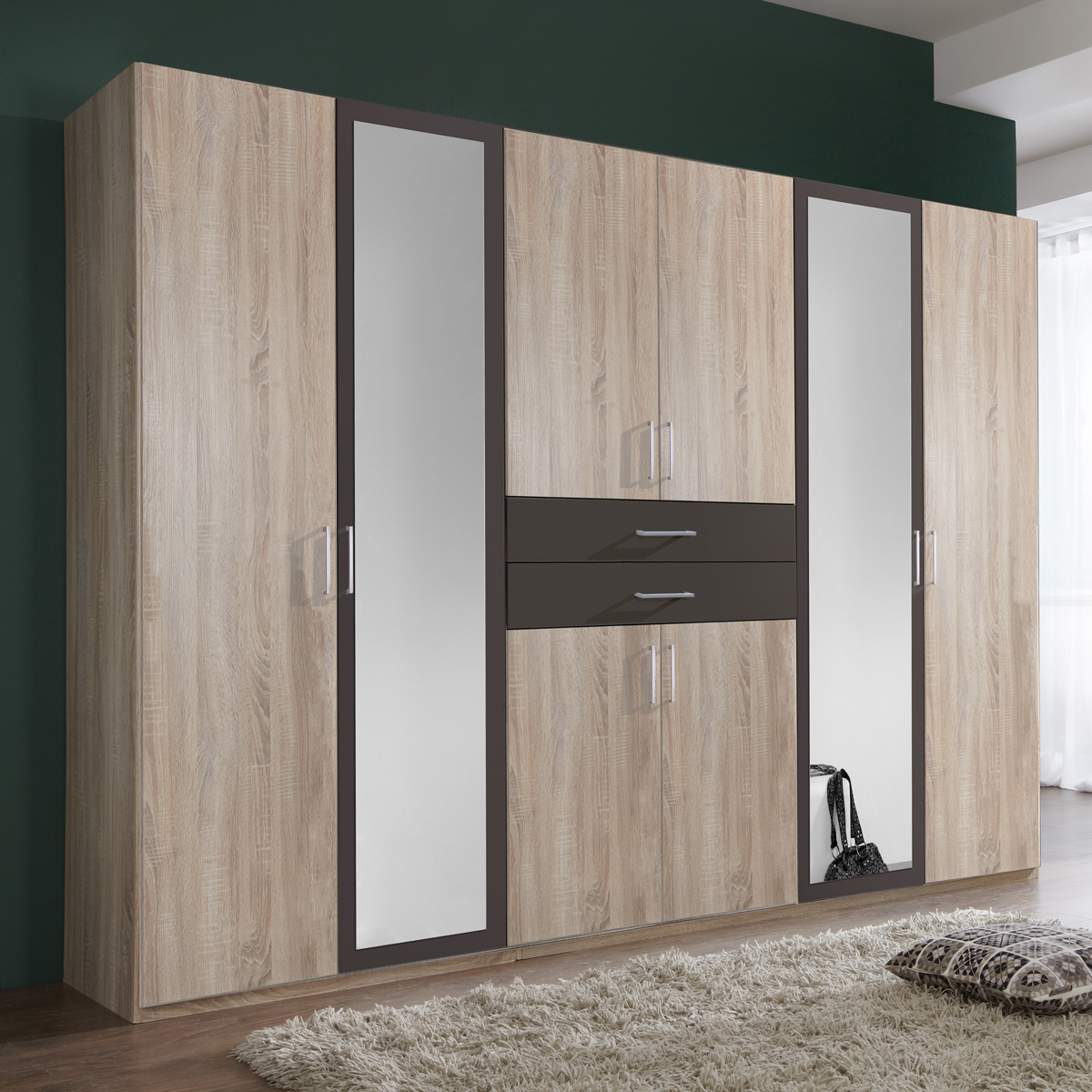 kleiderschrank diver in eiche s gerau und lava. Black Bedroom Furniture Sets. Home Design Ideas