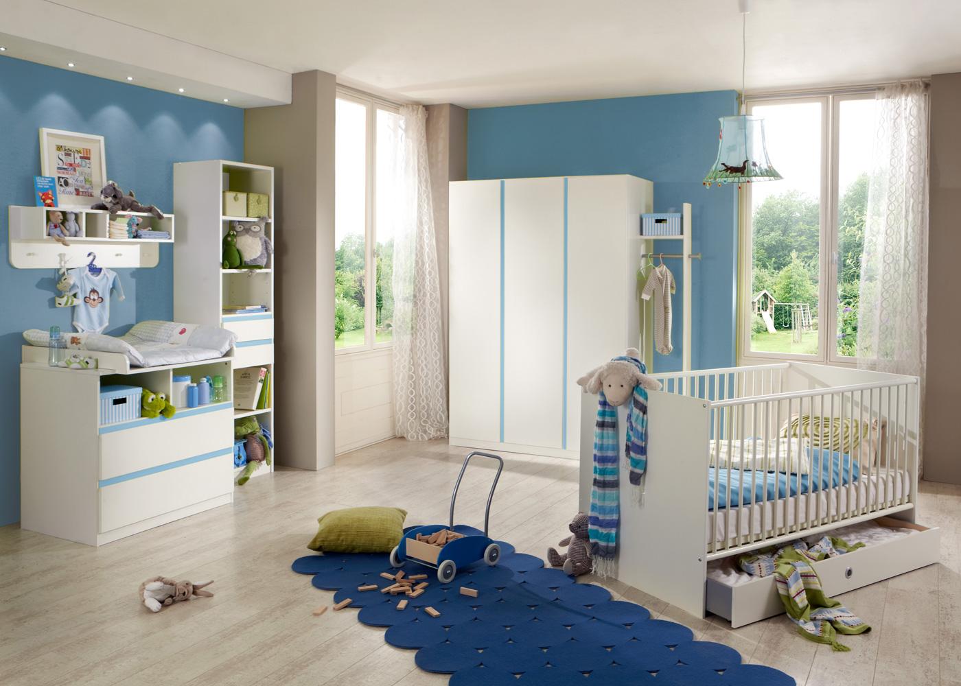 babyzimmer bibi babybett kleiderschrank wickelkommode regal wandboard in wei ebay. Black Bedroom Furniture Sets. Home Design Ideas