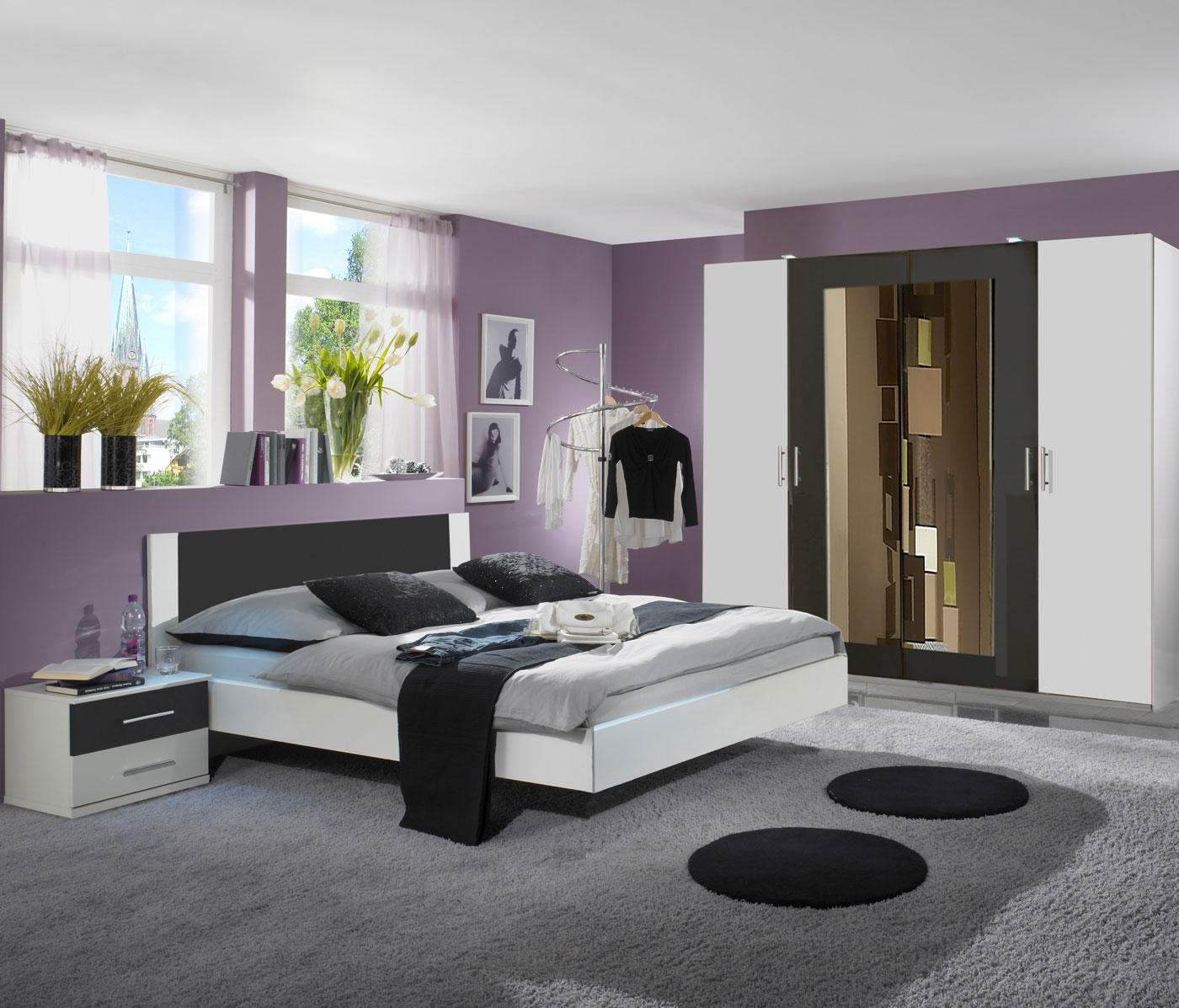 schlafzimmer komplettset kleiderschrank bett 180x200. Black Bedroom Furniture Sets. Home Design Ideas