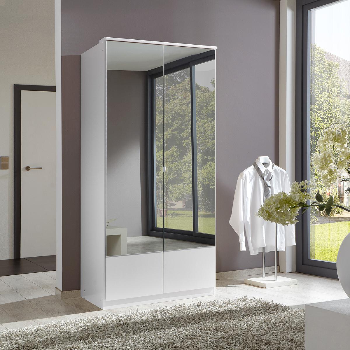 kleiderschrank imago schrank eiche s gerau nussbaum und wei mit spiegel 90 cm ebay. Black Bedroom Furniture Sets. Home Design Ideas