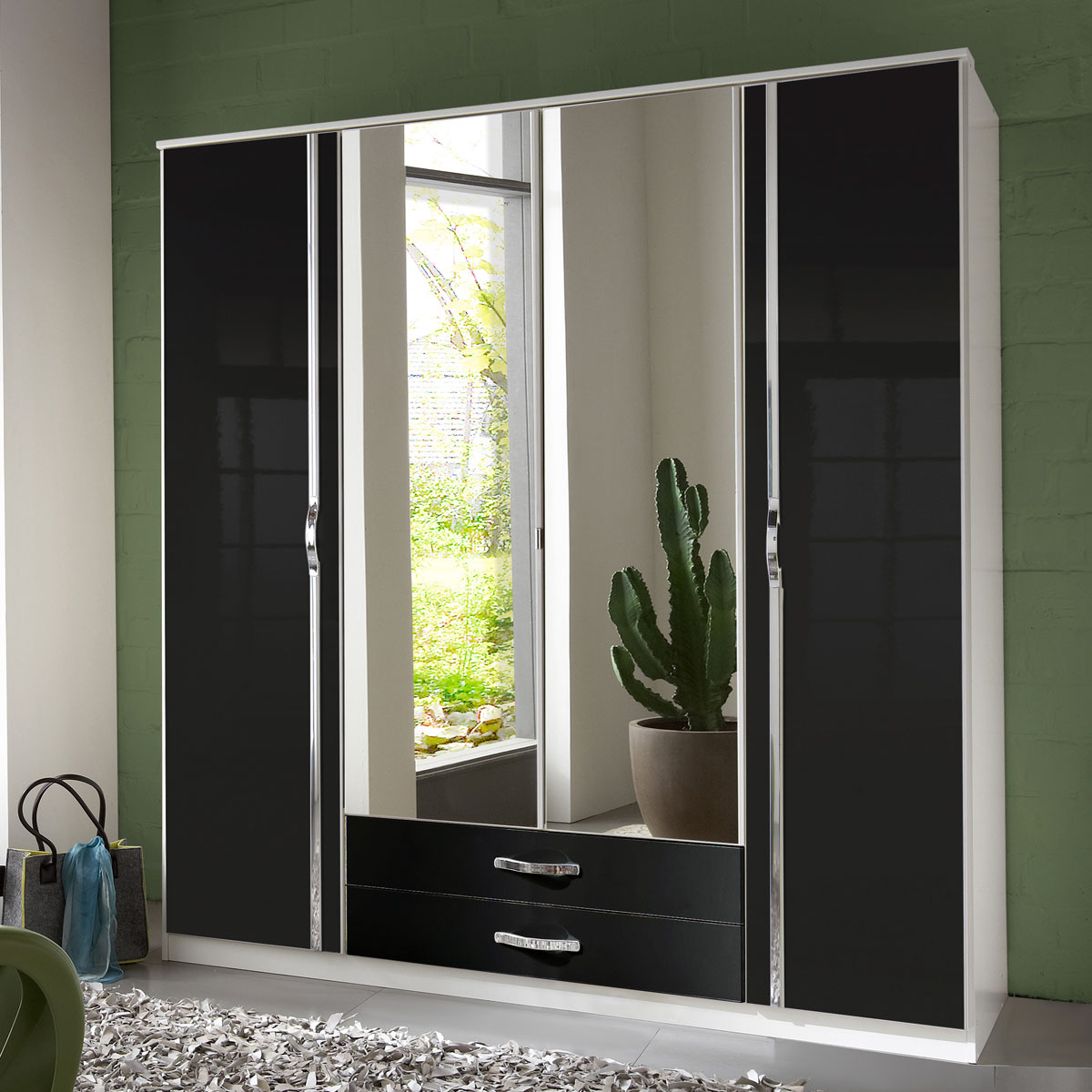 kleiderschrank trio schrank dreht renschrank wei oder schwarz hochglanz chrom ebay. Black Bedroom Furniture Sets. Home Design Ideas