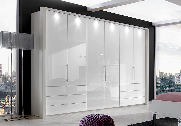 kleiderschrank loft faltt renschrank schrank in wei und wei glas 300 cm ebay. Black Bedroom Furniture Sets. Home Design Ideas
