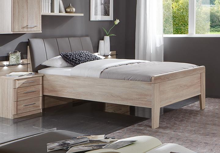 bett meran polsterbett einzelbett in eiche s gerau mit polster havanna 90x200 ebay. Black Bedroom Furniture Sets. Home Design Ideas