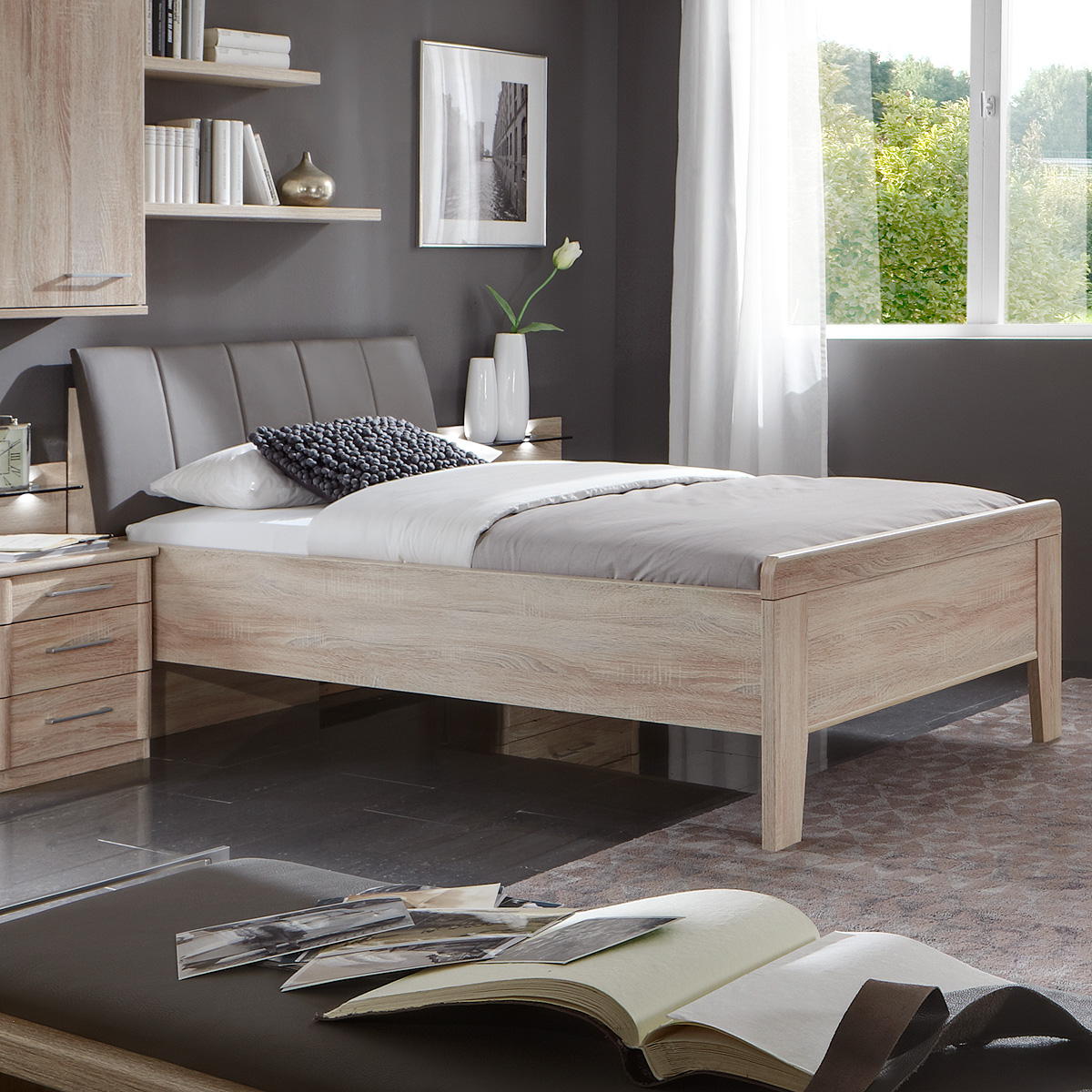 bett meran polsterbett einzelbett in eiche s gerau mit polster havanna 90x200 ebay. Black Bedroom Furniture Sets. Home Design Ideas