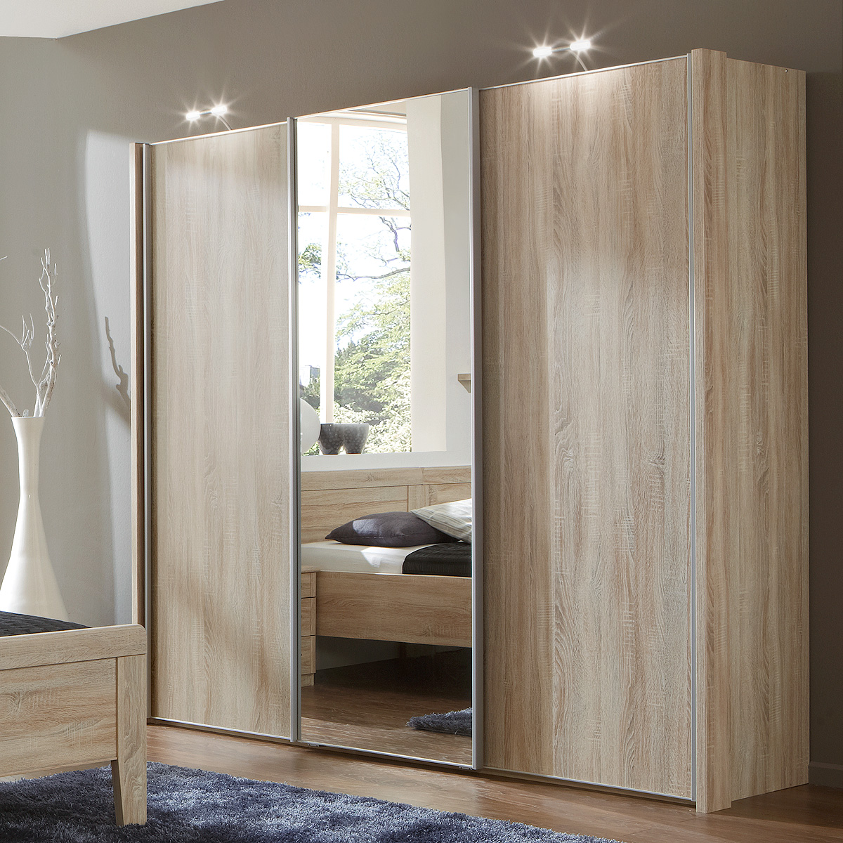schwebet renschrank meran schrank eiche s gerau mit spiegel 225 cm ebay. Black Bedroom Furniture Sets. Home Design Ideas