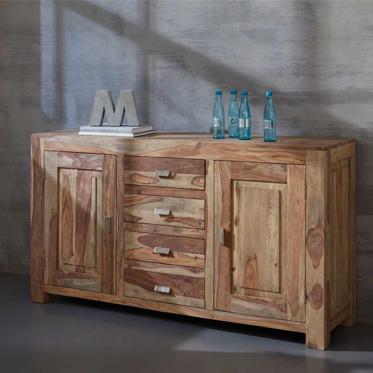 kommode yoga sheesham massivholz schrank sideboard landhausstil von wolf m bel ebay. Black Bedroom Furniture Sets. Home Design Ideas