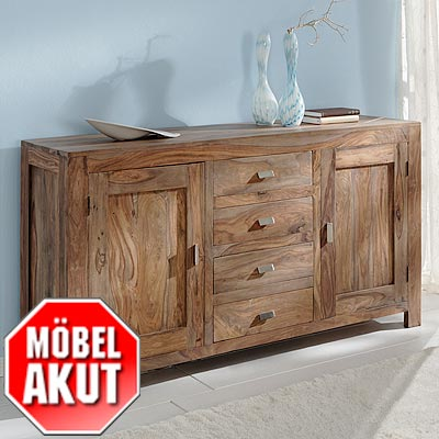 sideboard khan kommode in sheesham massiv neu ebay. Black Bedroom Furniture Sets. Home Design Ideas
