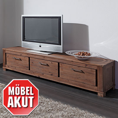 lowboard canaria tv board in akazie massiv smoke neu ebay. Black Bedroom Furniture Sets. Home Design Ideas