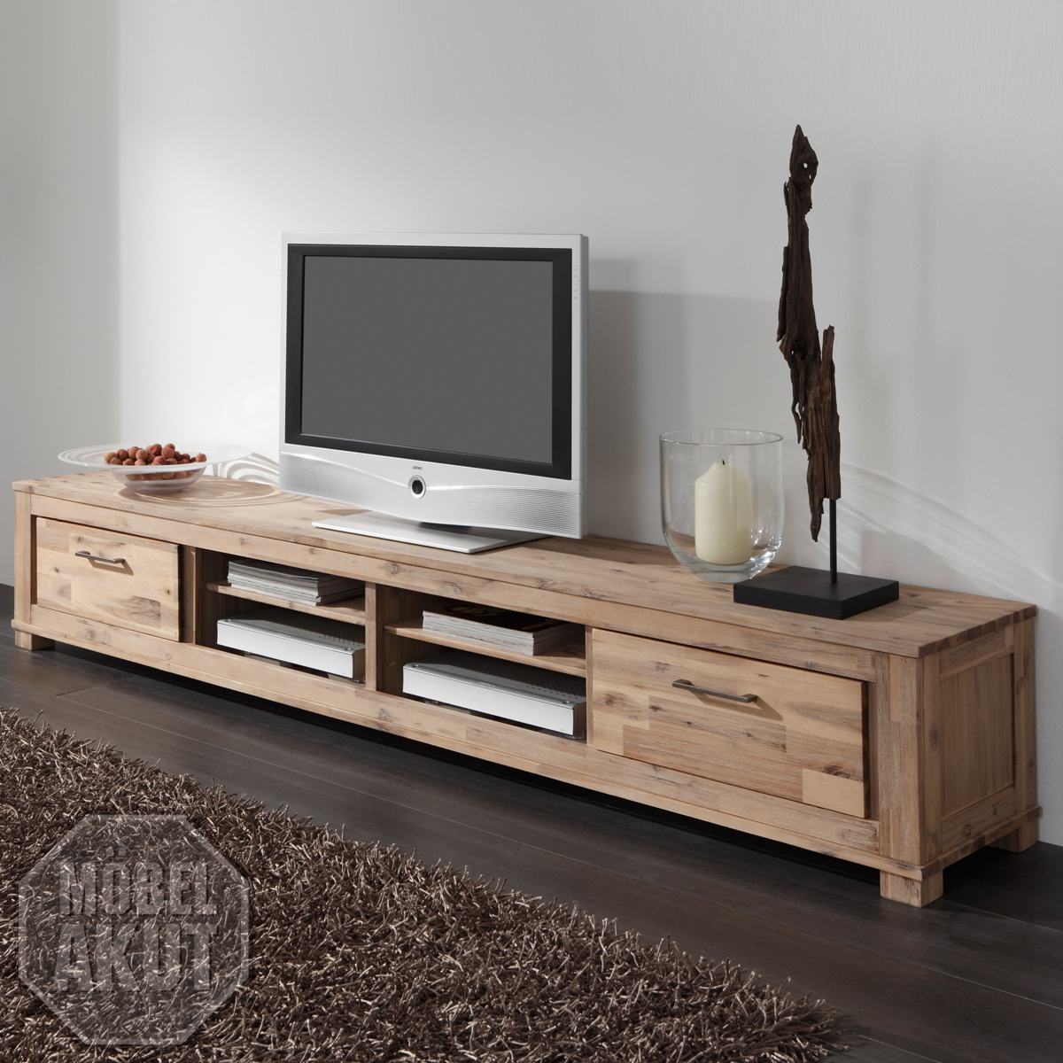 lowboard canaria tv board in akazie massiv sand neu. Black Bedroom Furniture Sets. Home Design Ideas