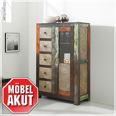brotschrank daro vitrine schrank in mango massiv vintage used look multicolor ebay. Black Bedroom Furniture Sets. Home Design Ideas