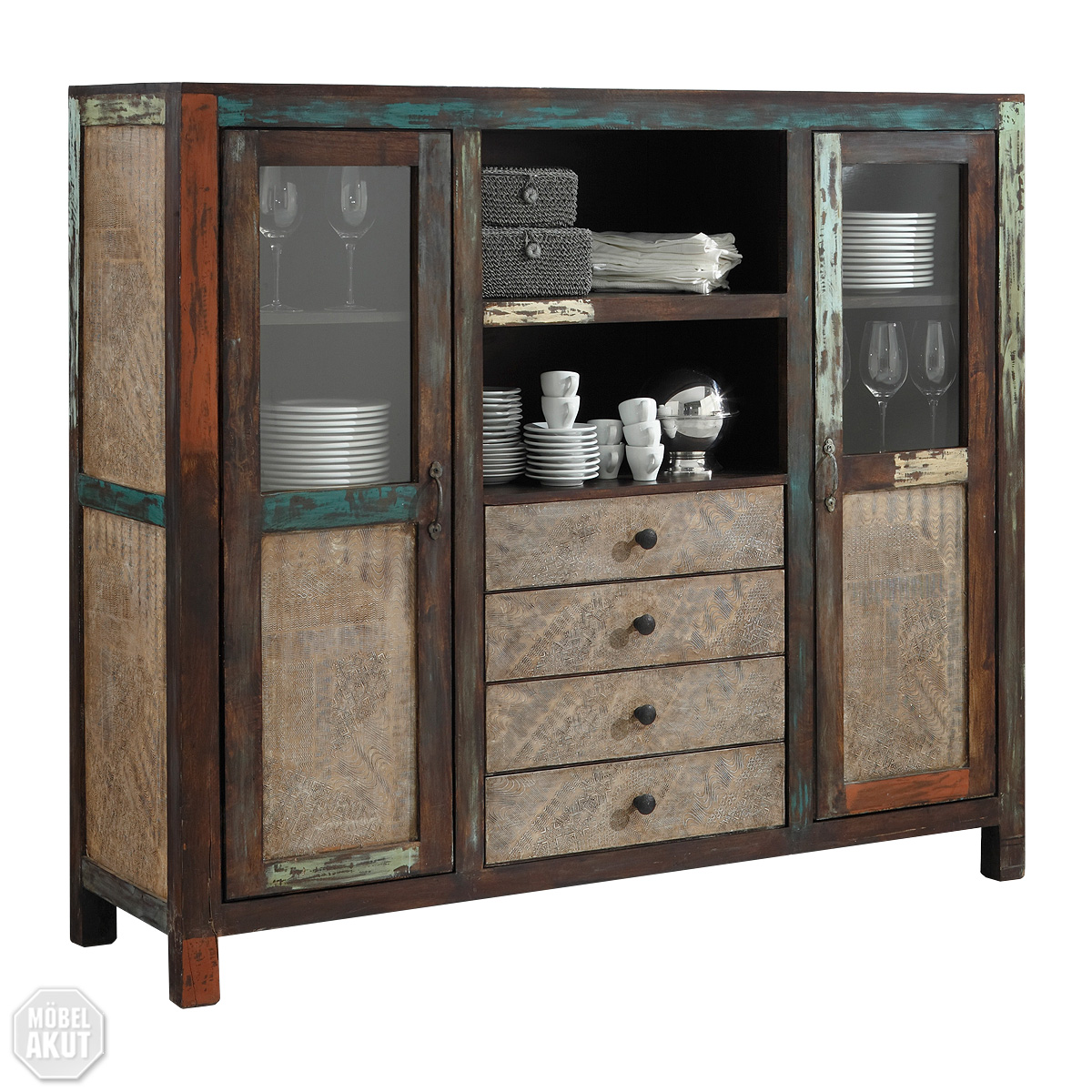 highboard goa vitrine schrank in massivholz mango massiv vintage used look multi ebay. Black Bedroom Furniture Sets. Home Design Ideas
