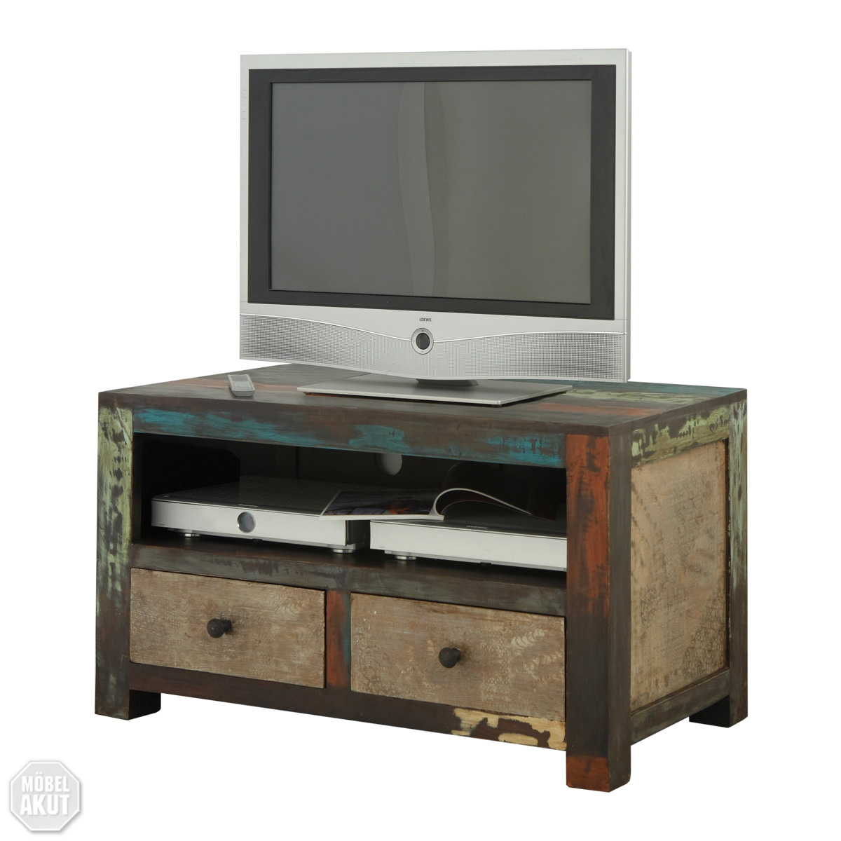 tv board goa lowboard in massivholz mango vintage used look multicolor neu ebay. Black Bedroom Furniture Sets. Home Design Ideas