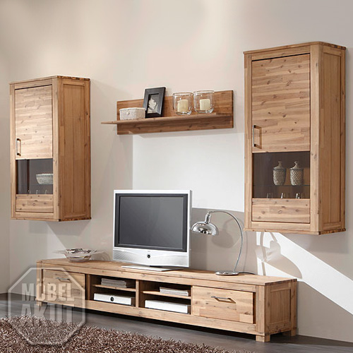 wohnwand canaria ii anbauwand wohnzimmer akazie massiv sand neu ebay. Black Bedroom Furniture Sets. Home Design Ideas