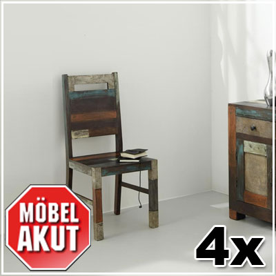 4er set stuhl daro st hle in mango massiv vintage used look multicolor neu ebay. Black Bedroom Furniture Sets. Home Design Ideas