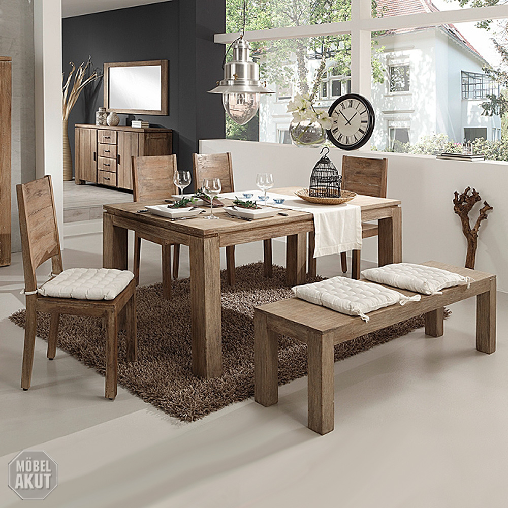 bank 160cm venice sitzbank esszimmer akazie sand massiv von wolf m bel ebay. Black Bedroom Furniture Sets. Home Design Ideas
