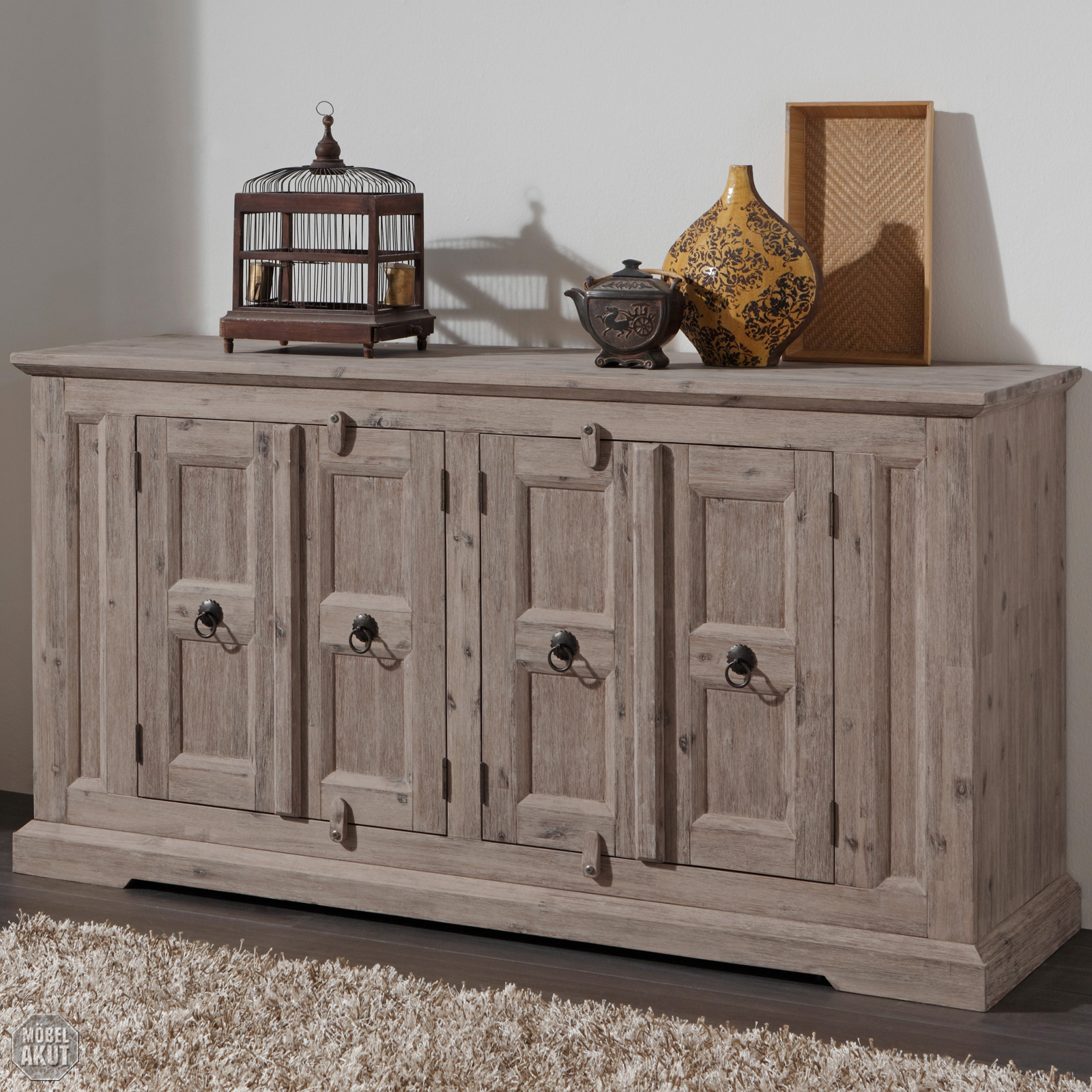 kommode delhi 4 t rig sideboard in akazie massiv farbe lava von wolf m bel eur 399 95. Black Bedroom Furniture Sets. Home Design Ideas