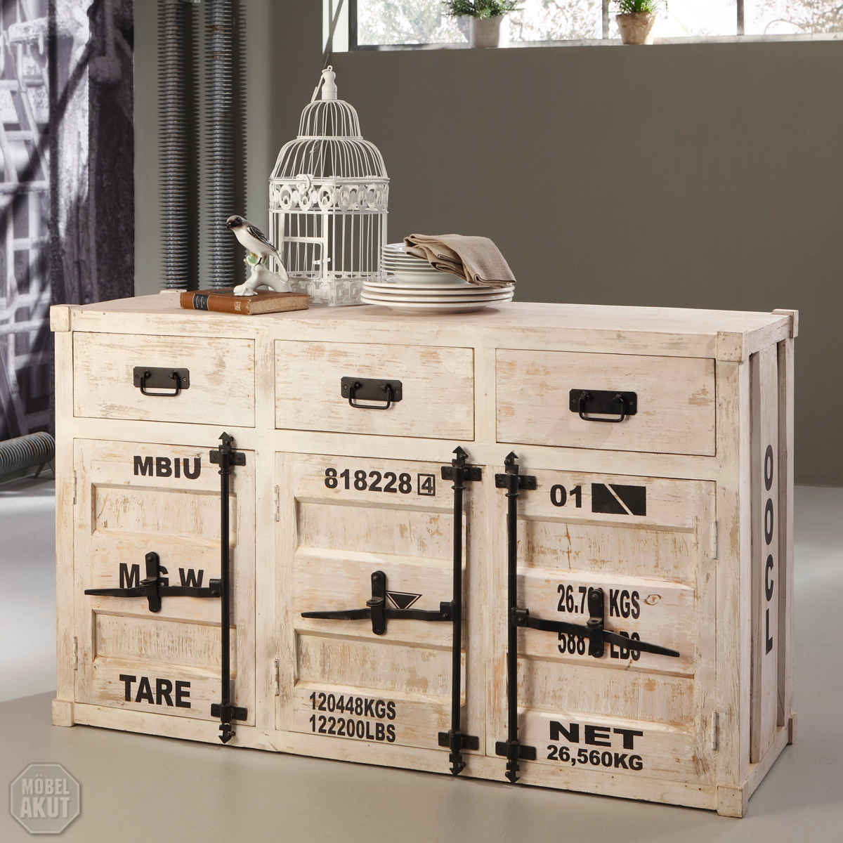 kommode 6902 container von wolf m bel in massivholz akazie antik weiss used look ebay. Black Bedroom Furniture Sets. Home Design Ideas