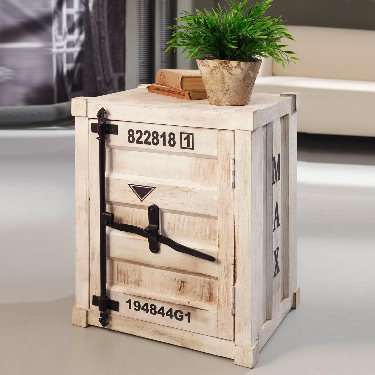 kommode 6905 container von wolf m bel in massivholz akazie antik weiss used look ebay. Black Bedroom Furniture Sets. Home Design Ideas