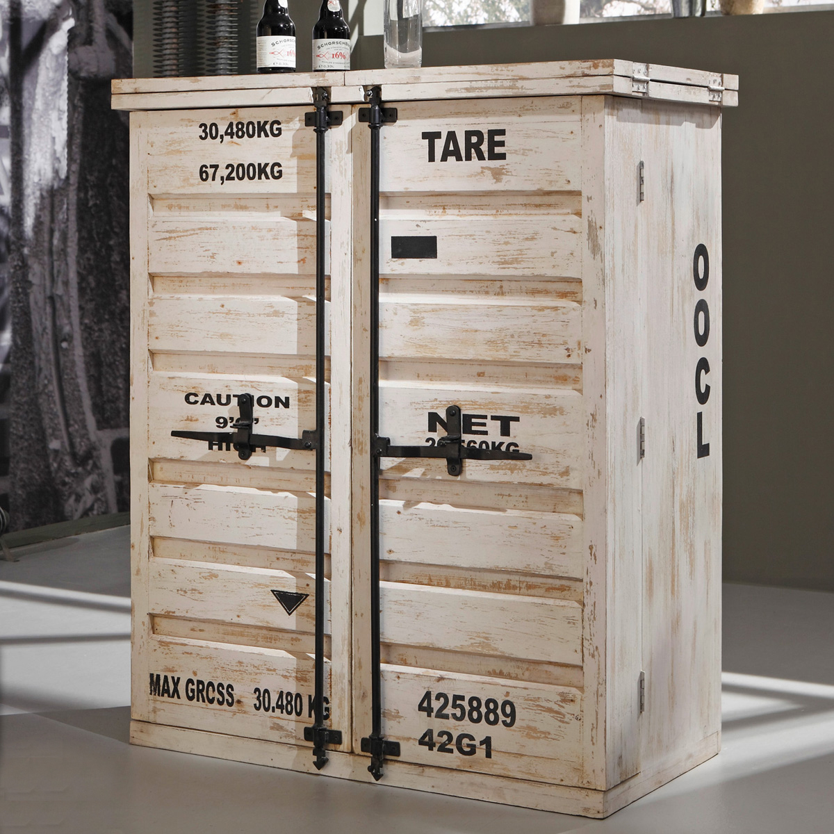 bar 6909 container von wolf m bel in massivholz sheesham antik weiss used look ebay. Black Bedroom Furniture Sets. Home Design Ideas