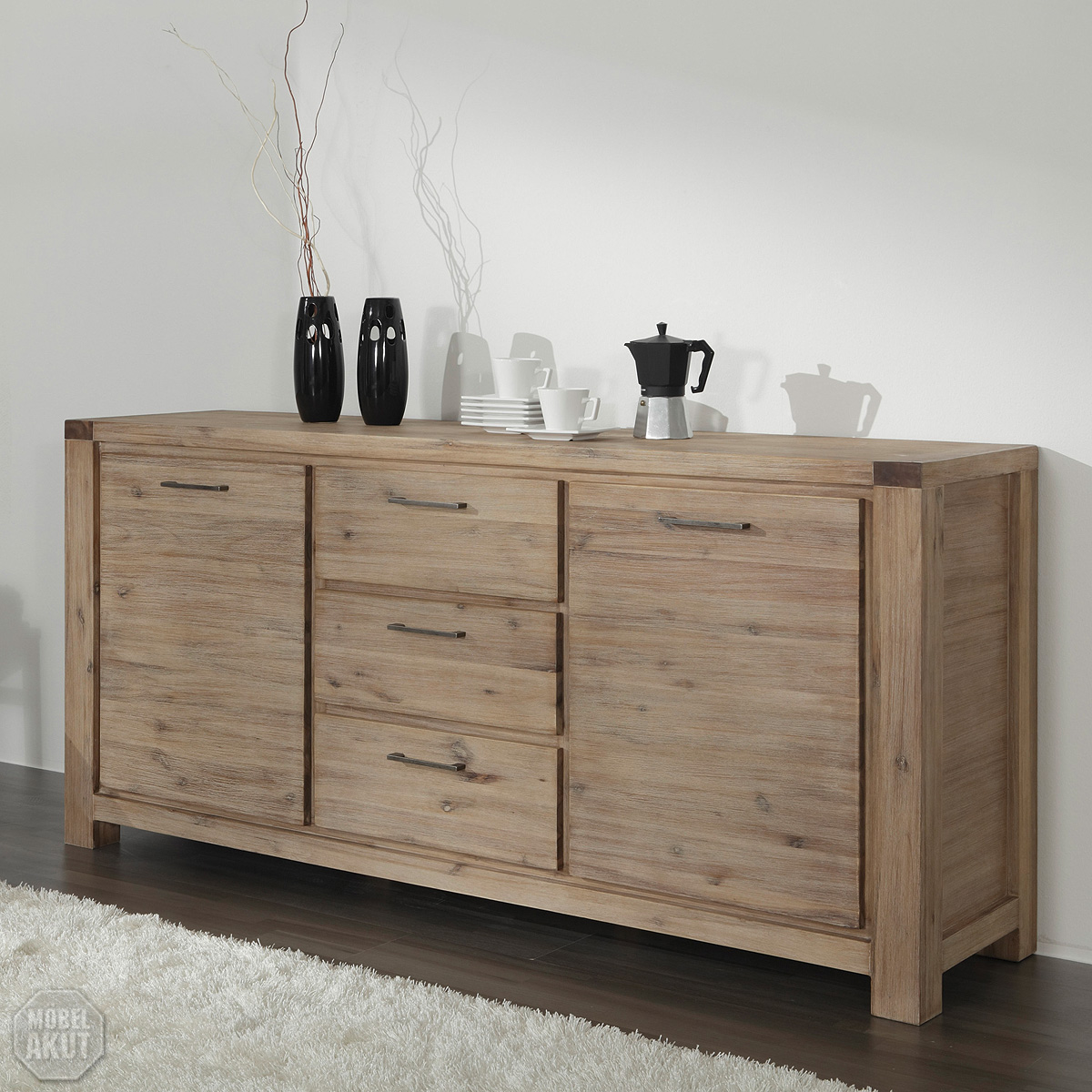 kommode 9605 coast von wolf m bel in massivholz akazie ebay. Black Bedroom Furniture Sets. Home Design Ideas