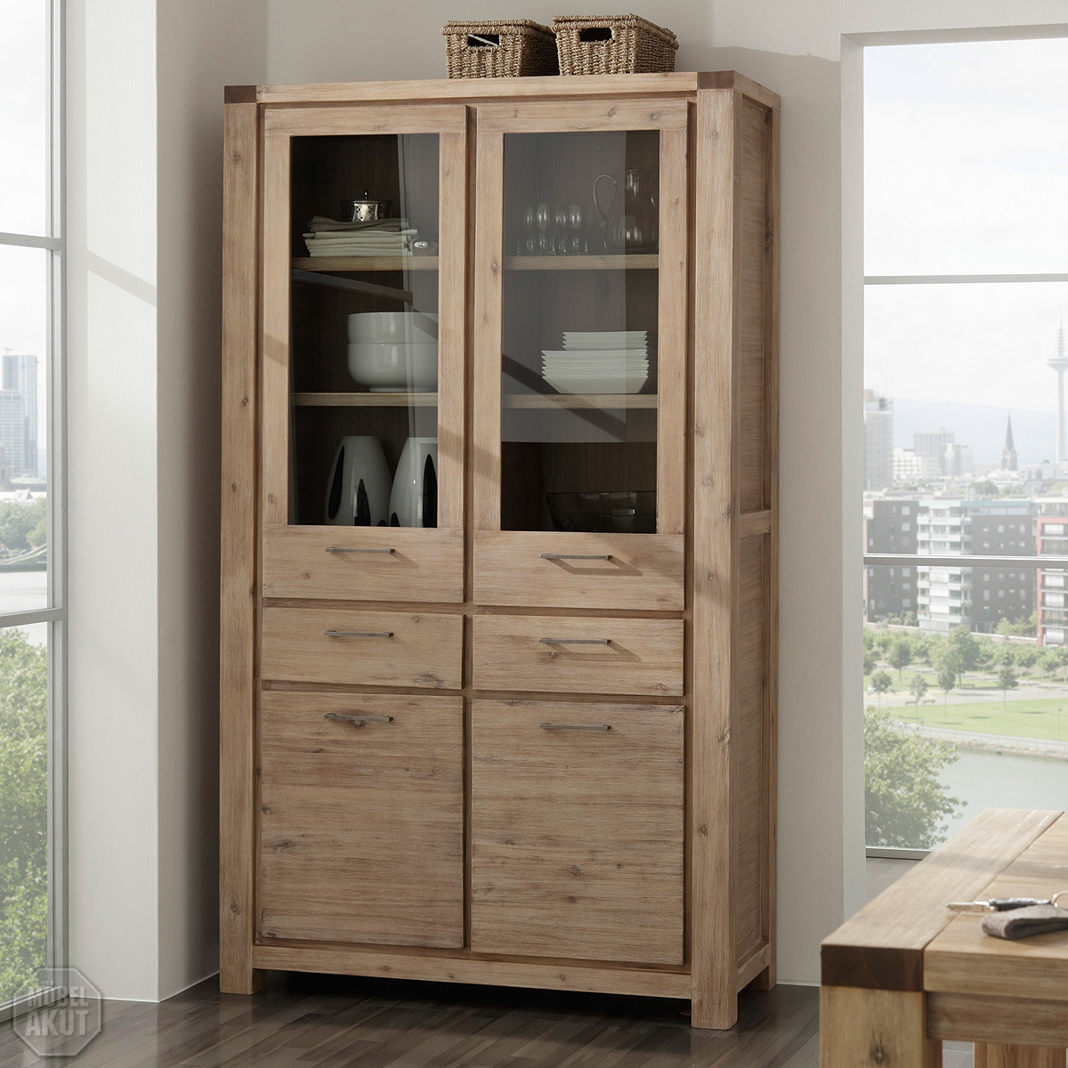 vitrine 9609 coast schrank von wolf m bel in massivholz akazie ebay. Black Bedroom Furniture Sets. Home Design Ideas