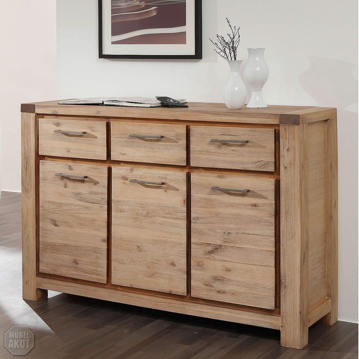 kommode 9621 coast sideboard von wolf m bel in massivholz akazie ebay. Black Bedroom Furniture Sets. Home Design Ideas
