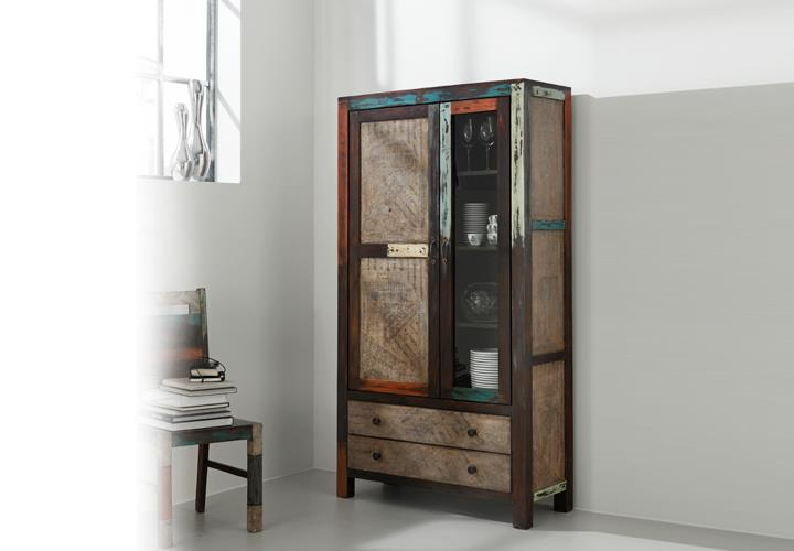 vitrine goa 3511 schrank in massivholz mango vintage used look multicolor. Black Bedroom Furniture Sets. Home Design Ideas