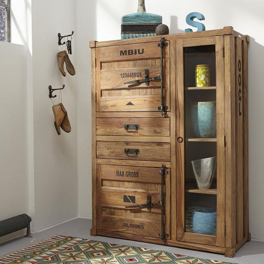 highboard 6911 container von wolf m bel in massivholz sheesham natur ebay. Black Bedroom Furniture Sets. Home Design Ideas