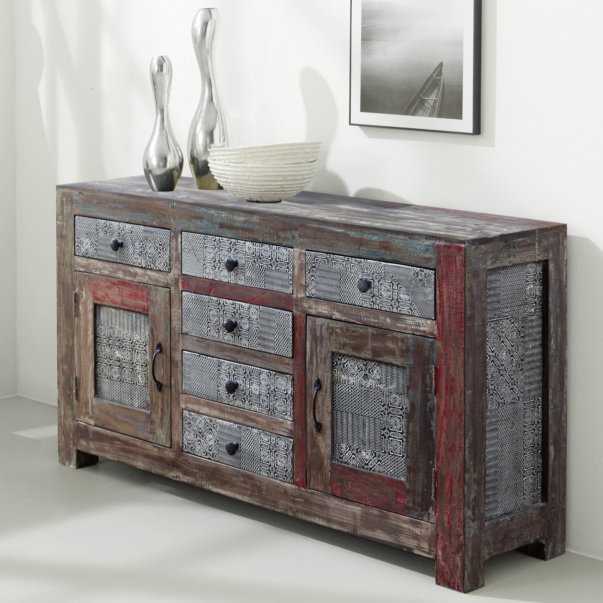 sideboard goa 3501 hi massivholz mango vintage von wolf m bel kommode ebay. Black Bedroom Furniture Sets. Home Design Ideas