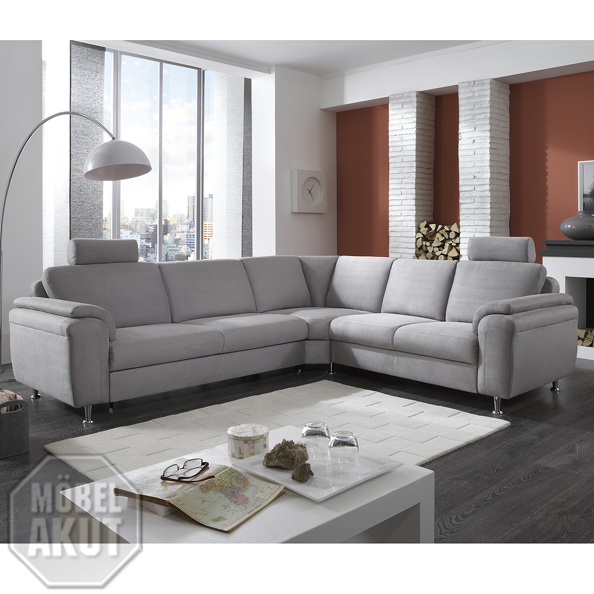 wohnlandschaft oxfort eck garnitur sofa stoff alu grau mit funktion ebay. Black Bedroom Furniture Sets. Home Design Ideas