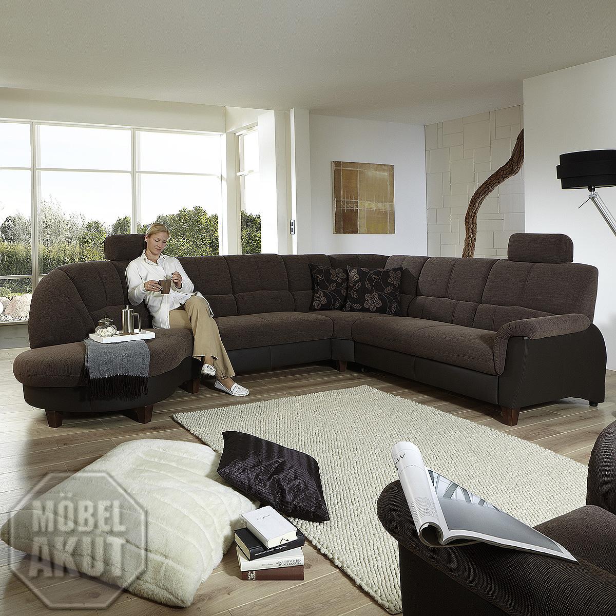 wohnlandschaft ferrara eck garnitur sofa stoff lederlook schoko ebay. Black Bedroom Furniture Sets. Home Design Ideas