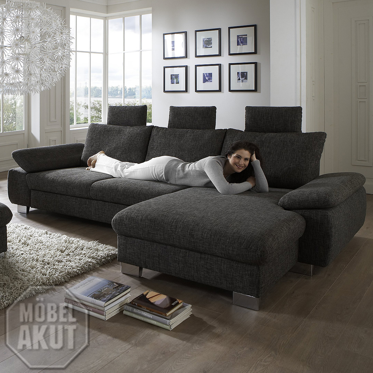 eckgarnitur bliss wohnlandschaft sofa stoff grau braun mit. Black Bedroom Furniture Sets. Home Design Ideas