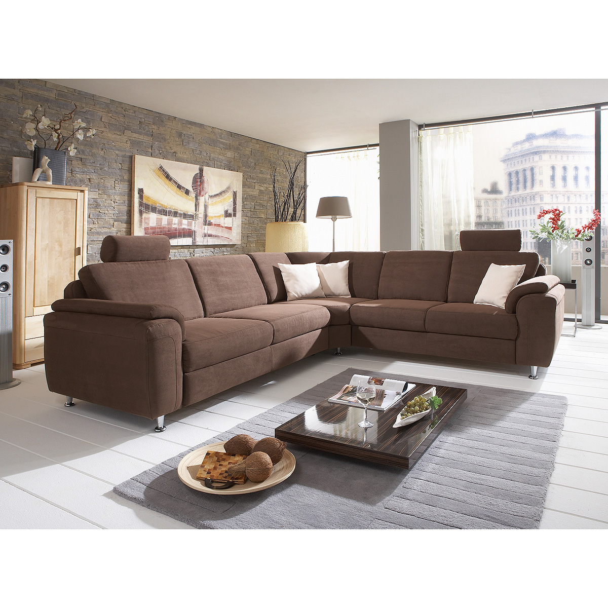 ecksofa oxfort wohnlandschaft sofa polsterm bel stoff in braun 276x246 ebay. Black Bedroom Furniture Sets. Home Design Ideas
