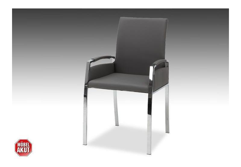 4er set stuhl marlos armlehnstuhl in grau chrom ebay. Black Bedroom Furniture Sets. Home Design Ideas