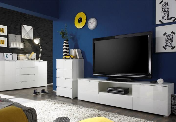 kommode spice 6 in hochglanz wei 100 cm breit anrichte. Black Bedroom Furniture Sets. Home Design Ideas