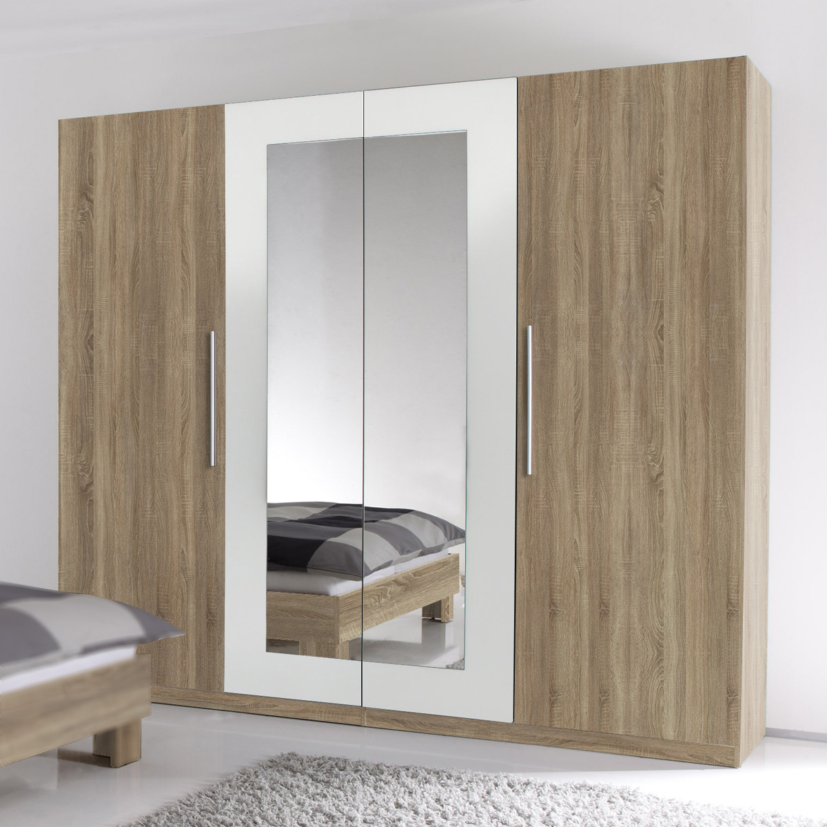 kleiderschrank martina schrank sonoma eiche s gerau und wei mit spiegel 228 cm eur 299 00. Black Bedroom Furniture Sets. Home Design Ideas