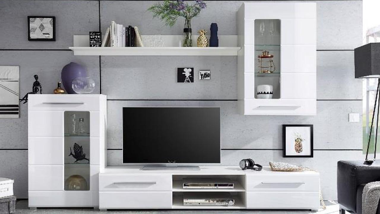 Anbauwand Wohnwand Enrique 1 Wohnzimmer Front weiß hochglanz mit ...