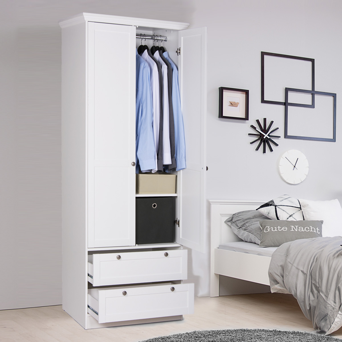 kleiderschrank landwood dreht renschrank in wei 2 schubk sten landhausstil ebay. Black Bedroom Furniture Sets. Home Design Ideas