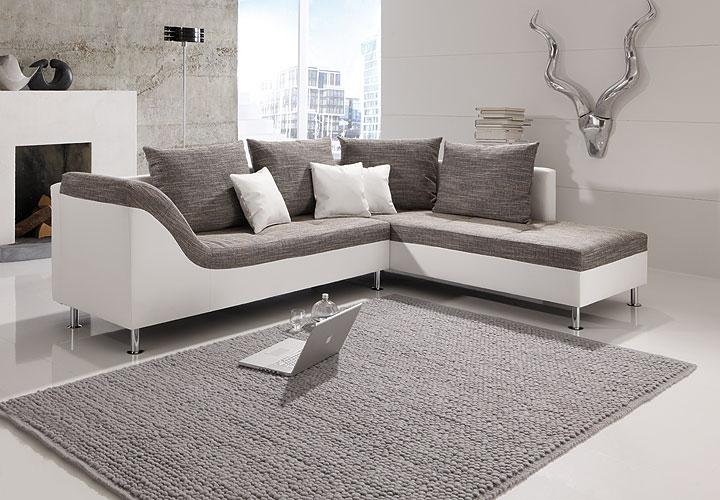 ecksofa philip wohnlandschaft couch sofa mit ottomane rechts wei stoff grau eur 428 00. Black Bedroom Furniture Sets. Home Design Ideas