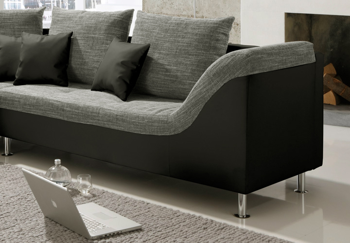 wohnlandschaft ecksofa philip couch sofa mit ottomane links schwarz stoff grau ebay. Black Bedroom Furniture Sets. Home Design Ideas
