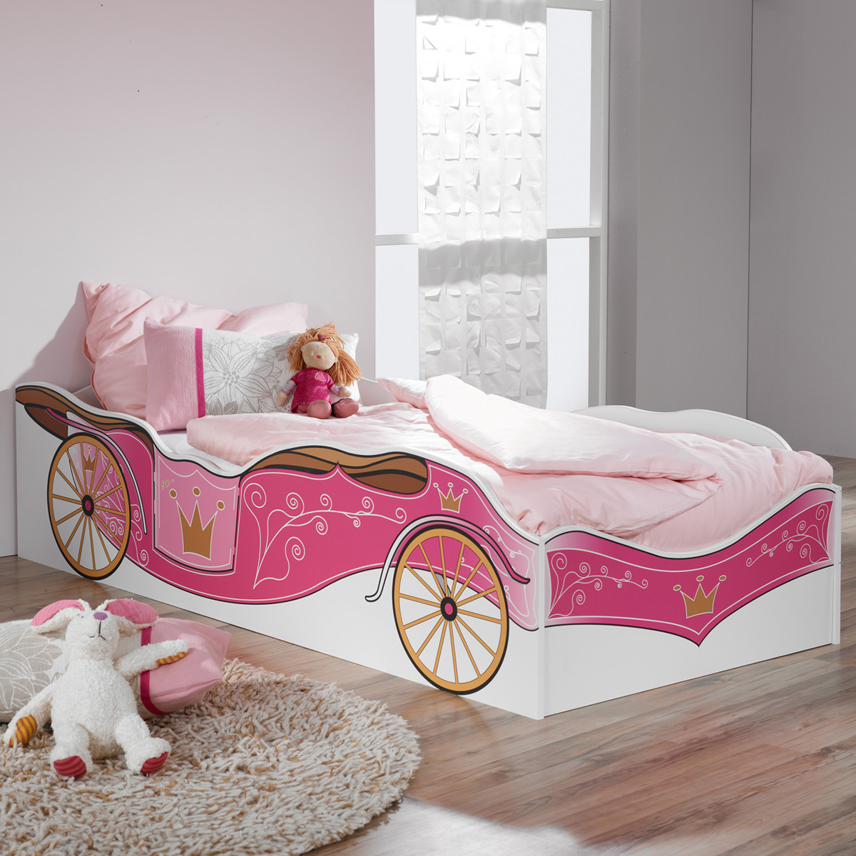 kinderbett kate motiv kutsche prinzessin bett in wei und rosa dekor ebay. Black Bedroom Furniture Sets. Home Design Ideas