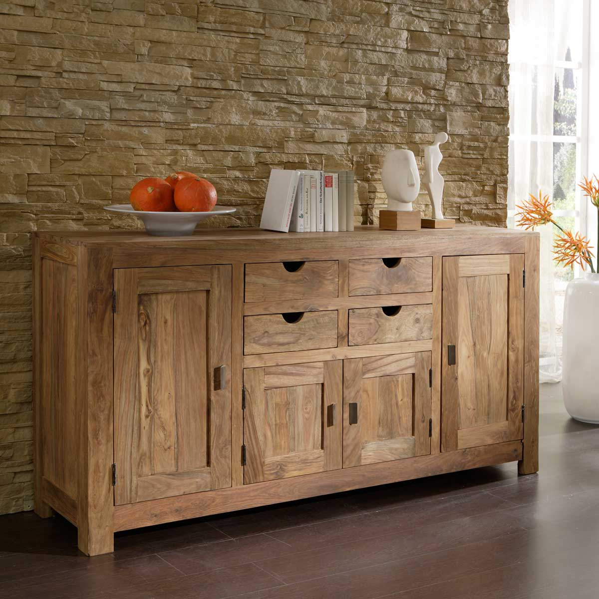 sideboard yoga massivholz sheesham schrank wolf m bel landhaus ebay. Black Bedroom Furniture Sets. Home Design Ideas