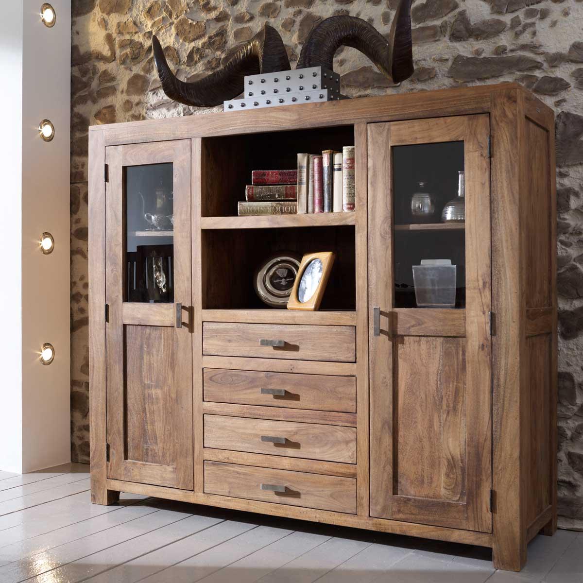 massivholz highboard guru 6627 von wolf m bel akazie kommode stone ebay. Black Bedroom Furniture Sets. Home Design Ideas