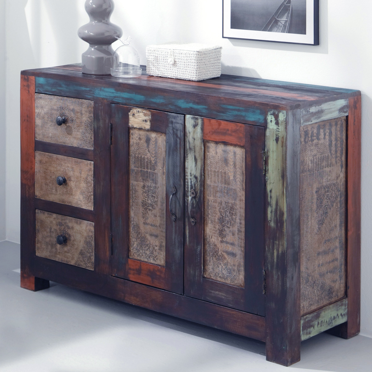 kommode sideboard goa schrank in massivholz mango vintage used look multicolor ebay. Black Bedroom Furniture Sets. Home Design Ideas