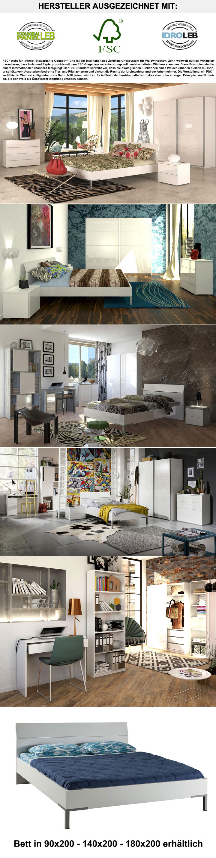 nachtkommode privilegio in hochglanz wei mit 2 schubk sten. Black Bedroom Furniture Sets. Home Design Ideas