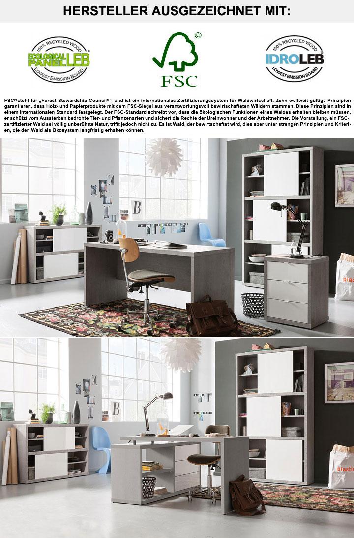 regal practico in beton dekor mit schiebet ren in wei lack. Black Bedroom Furniture Sets. Home Design Ideas